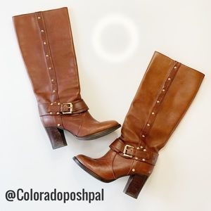 Michael Kors Leather Tall Heeled Gold Stud Boots